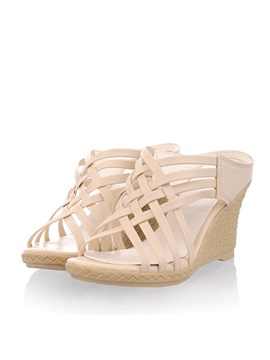Pu Caged Slip On Wedge Sandals