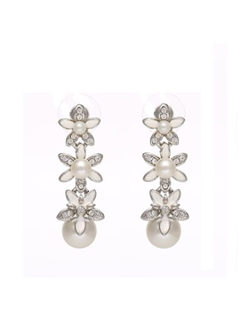 Pure Flower Pearls Diamante Silver Tone Alloy Korean Drop Stud Earrings