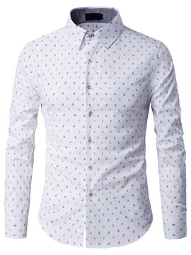 Geometric Print Casual Mens Long Sleeve Shirt