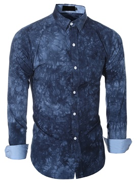 Floral Print Long Sleeve Mens Causal Shirt