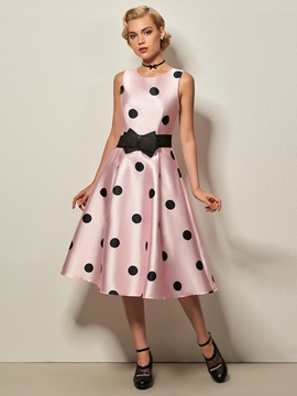 Polka Dots Sleeveless Skater Dress(no Belt)