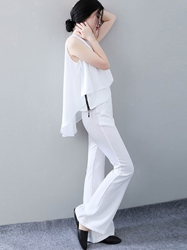 White Zipper Patchwork Chiffon Pants 2 Piece Sets