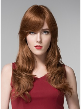Mishair® Attractive Long Wavy Capless Human Hair Wig 22 Inches