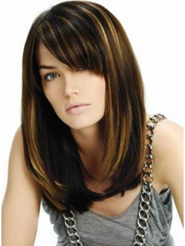 Hight Quality Mid Length Straight Lob Hairstyle Capless Synthetic Wigs 14 Inches