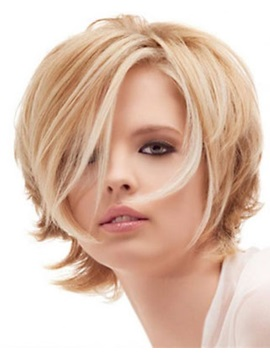 Long Side Fringe Boy Cut Human Hair Lace Front Women Wigs 8 Inches