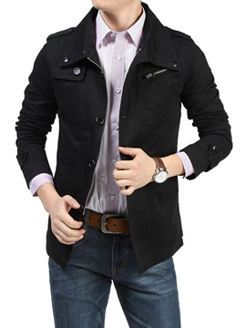 Plain Casual Mens Zipper Jacket