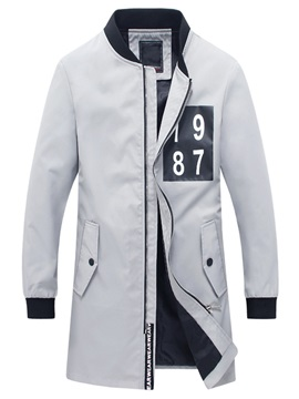 Number Print Zipper Mens Casual Trench Coat