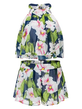 Floral Printing Halter Pleated Shorts 2 Piece Sets