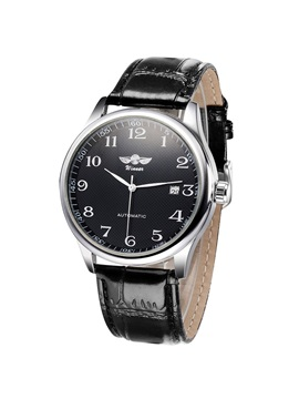 Black Leather Pin Buckle Mens Alloy Watch
