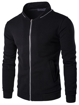 Zippered Collar Long Sleeve Mens Jacket