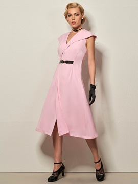 Solid Color Lapel Sleeveless Belt Womens Day Dress