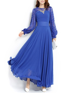 Lace Patchwork Lantern Sleeve Womens Maxi Dress