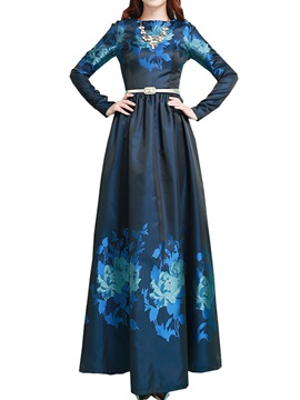 Floral Print Long Sleeve Womens Maxi Dress