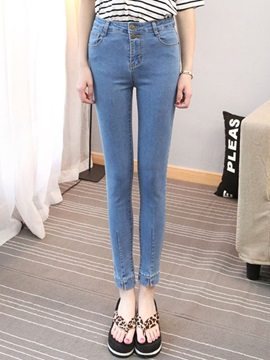 Denim Rivet Patchwork Jeans