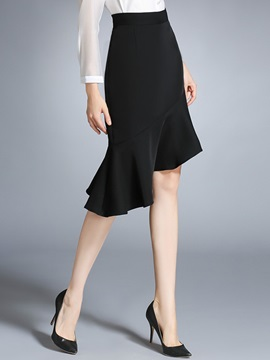 Black Zipper Falbala Fishtail Sheath Skirt