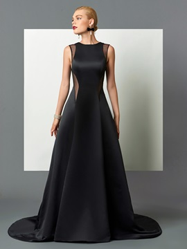Fancy Jewel A Line Hollow Backless Court Train Evening Dress