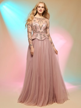Attactive A Line Scoop Long Sleeves Beading Button Prom Dress