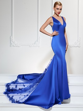 Concise Mermaid V Neck Lace Court Train Zipper Up Evening Dress