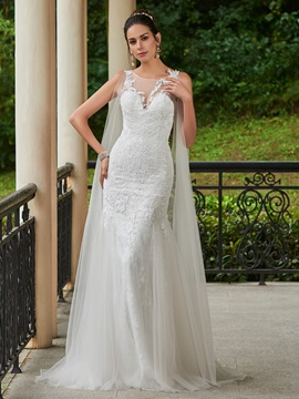 Charming Appliques Scoop Sheath Wedding Dress