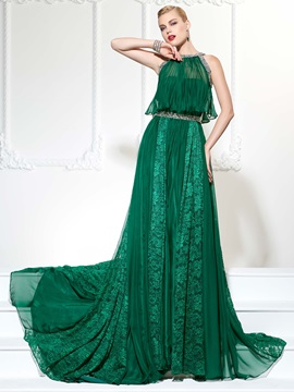 Popular Jewel A Line Beading Lace Court Train Evening Dress