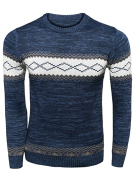 Contrast Color Round Neck Mens Casual Sweater