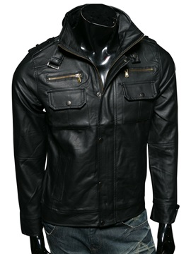 Chest Pocket Mens Casual Pu Jacket