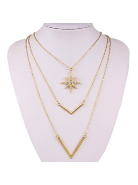 Multilayer Sun Diamante Pendant Necklace