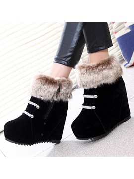 Faux Fur Ed Wedge Boots