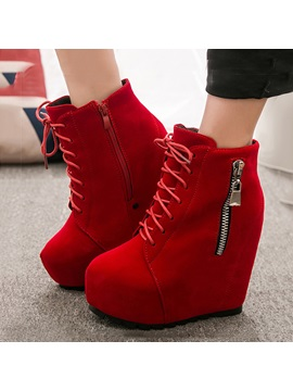 Solid Color Suede Lace Up Wedge Boots
