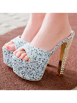 Sequins Slip On Platform Peep Toe Sandals