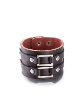 Brown Leather Vintage Style Mens Bracelet