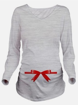 Simple V Neck Long Sleeve Maternity T Shirt