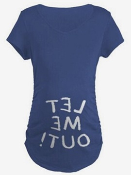 Solid Color Letter Print Short Sleeve Maternity T Shirt