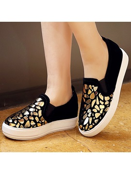 Platform Thread Stone Low Heel Sneakers