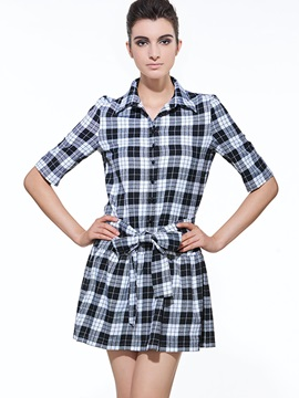 Plaid Lapel Half Sleeve Lace Up Womens Day Dress