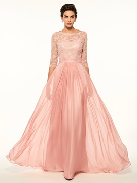High Quality Scoop Lace Half Sleeves A Line Long Mother Of The Bride Dress