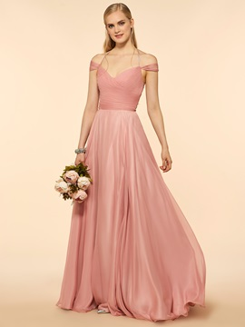Off The Shoulder A Line Long Bridesmaid Dress