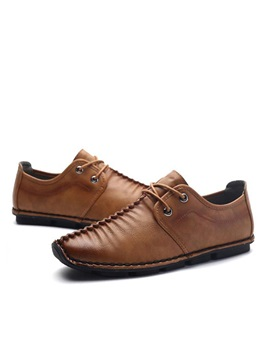 Pleated Pu Lace Up Mens Casual Shoes