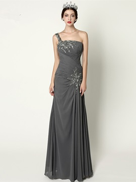 One Shoulder Appliques Sequins Column Evening Dress