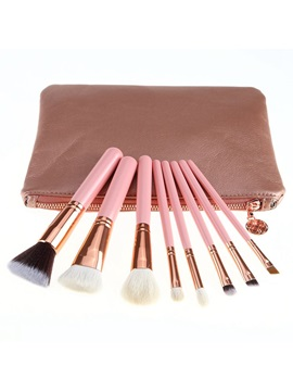 8 Piece Pink Makeup Brush Set With Pouch Bag