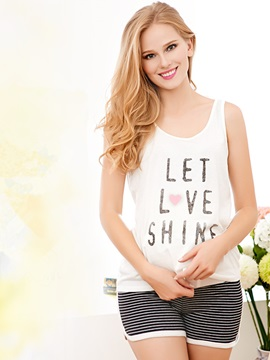 Comfort Lettered Tank Top Stripe Shorts Maternity Sleepwear