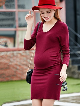 Comfort V Neck Long Sleeve Maternity Dress