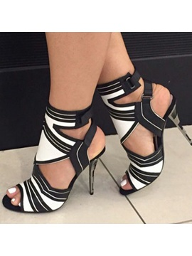 Black White Peep Toe Stiletto Heel Sandals