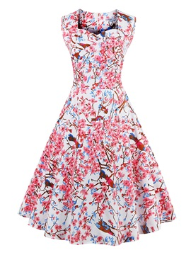 Floral Print Square Neck Sleeveless Vintage Skater Dress