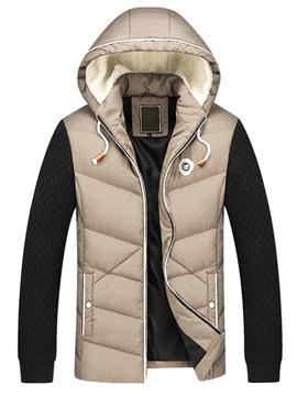 Hooded Zipper Mens Casual Color Block Down Jacket