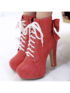 Chic Bowknots Lace Up Platform Ankle Boots