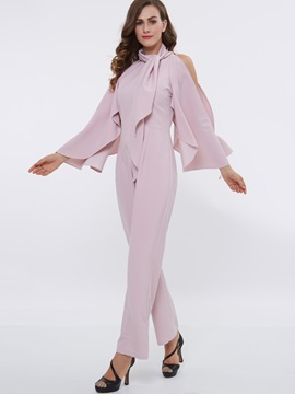 Pink Bell Sleeve Scarf Jumpsuit