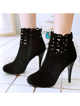 Suede Cut Out Zippered Ankle Boots