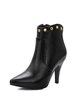 Solid Color Pu Low Heel Booties