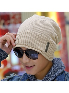 Letter Cloth Paste Knitted Cap For Men